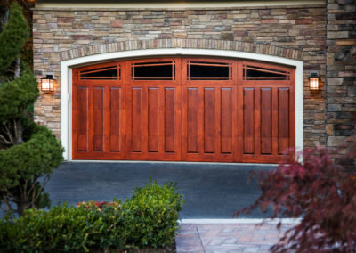 Charles River Semi Custom Series Franklin Raised Panel Model Stain Grade Sapele Wood Long Prairie Lite Arch Glass