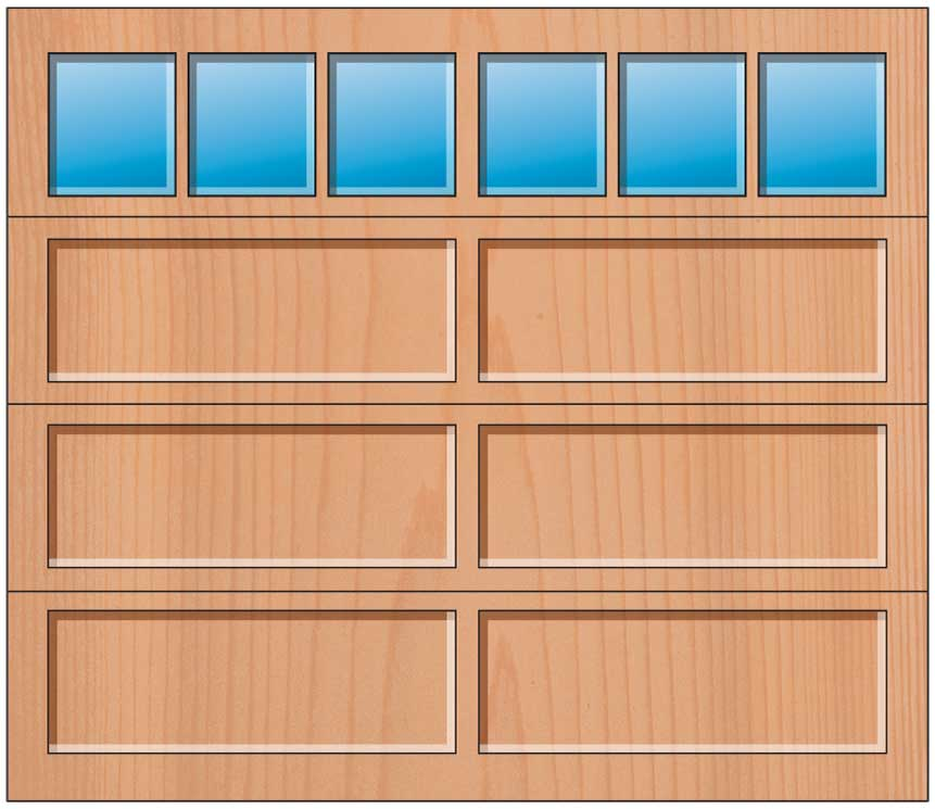 Everite Door - 2 Long Panels 3 Lite Square Top