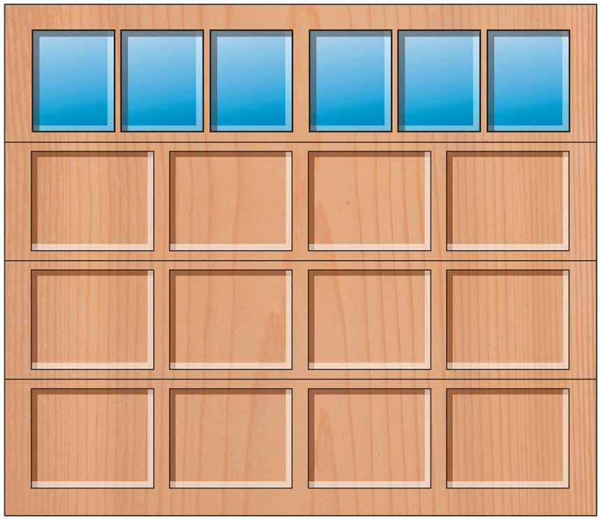Everite Door - 4 Panels 3 Lite Square Top