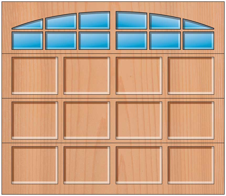 Everite Door - 4 Panels 3 OV 3 Arched Lites