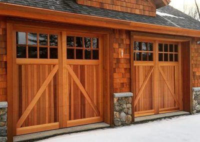 "North Country Custom Series York Model Stain Grade Western Red Cedar Wood V-Groove T&G Panels 36"" Top Glass Section Insulated Clear 4 over 4 Lite Square Glass Factory Applied Clear Satin Finish"