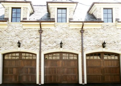 Allegheny River Semi-Custom Series Allegheny Model Stain Grade Wood V-Groove T&G Panels 4 over 4 Lite Arch Glass