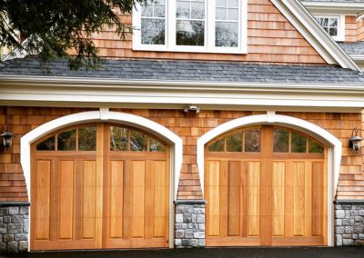 Charles River Semi Custom Series Franklin Raised Panel Model Stain Grade Western Red Cedar Wood 3 Lite Arch Glass