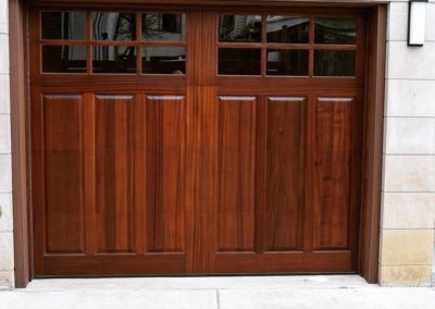Charles River Custom Series Franklin Raised Panel Model Stain Grade Sapele Wood 3 over 3 Lite Square Glass