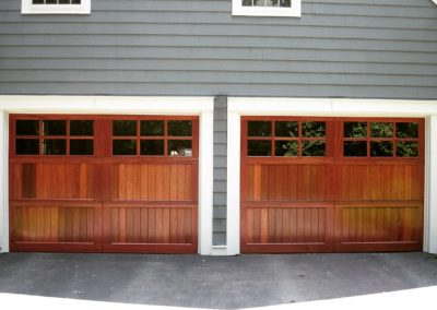 Allegheny River Semi-Custom Series Allegheny Model Stain Grade Sapele Wood V-Groove T&G Panels 3 over 3 Lite Square Glass